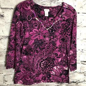 Tantrums Purple/pink/black Floral Top.
